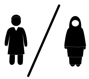 man and women on separate side