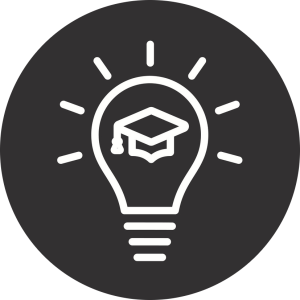 university cap in lightbulb icon