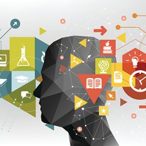 person silhouette with educational topic icons