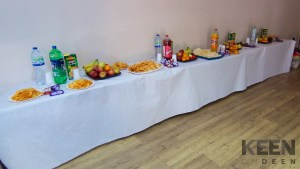 snacks and drinks on table