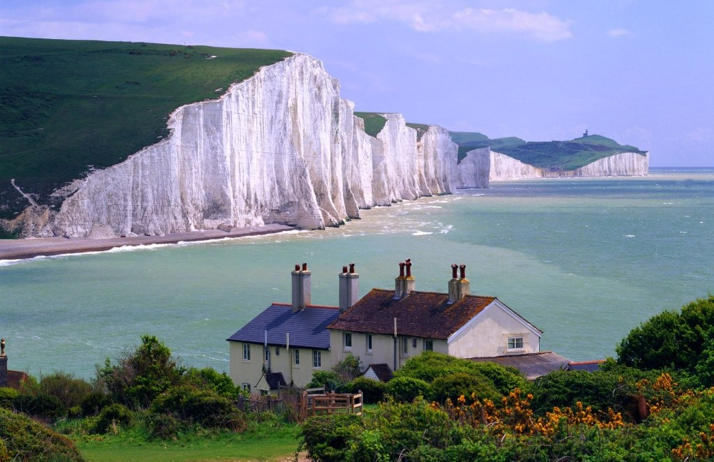 Picture of Seven Sisters Cliff with the sea and sky and house