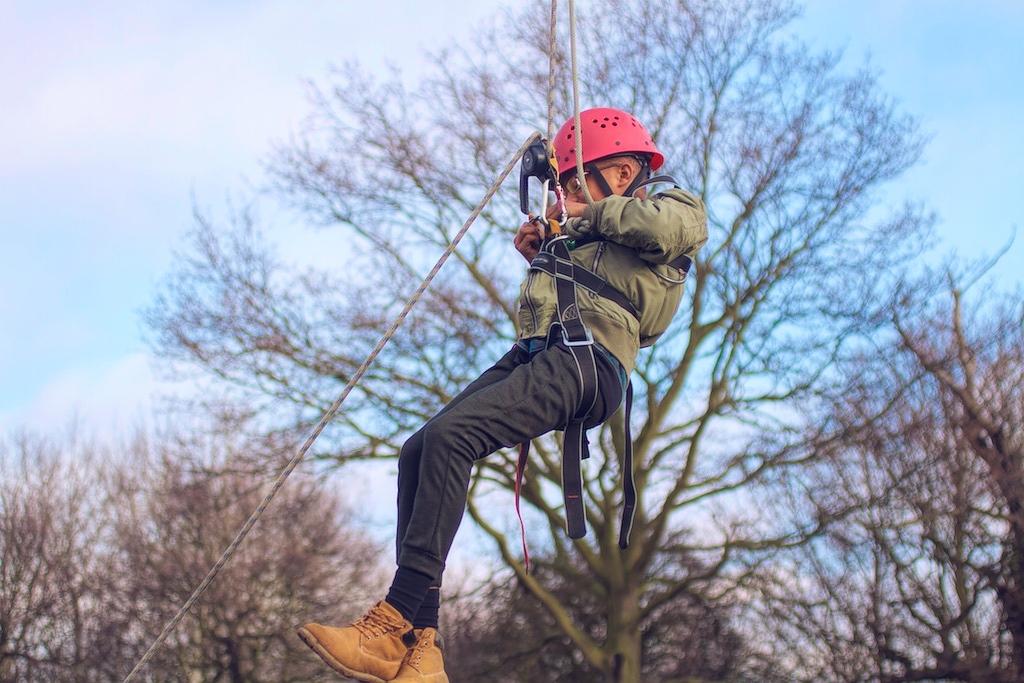 Boy on a zip wire