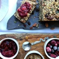 Apple, nut and seed bread with chia jam