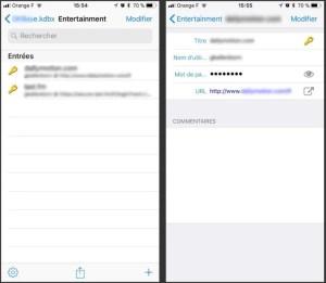 interface de keepass mobile