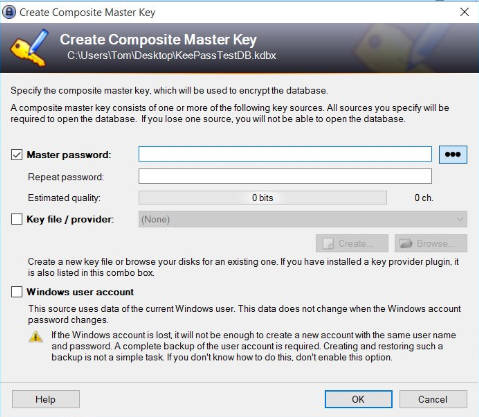 keepass master password