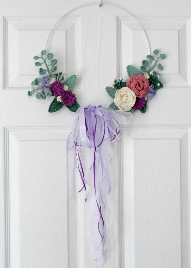 Delicate crocheted floral wreath
