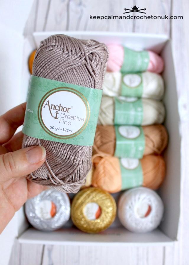 Close up of Anchor Creativa Fino mercerised cotton yarn