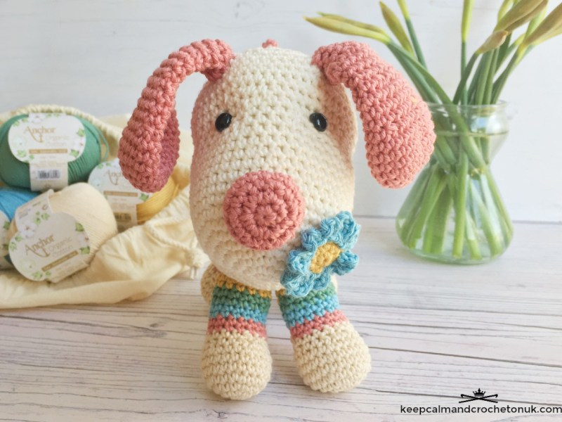 Periwinkle the Puppy, crocheted dog amigurumi