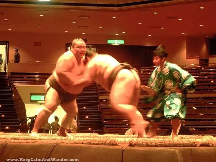 Sumo Wrestling at Ryogukan Sumo Stadium in Tokyo, Japan.