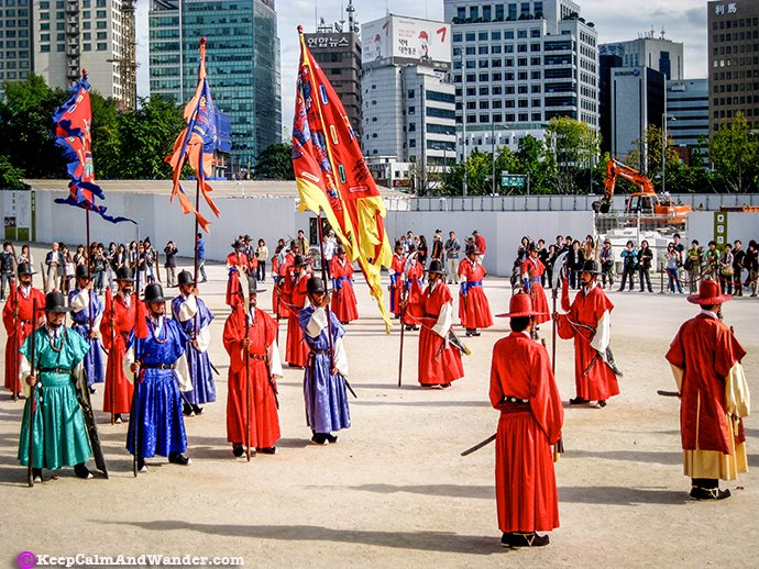 The Soldiers of Gyeongbokgung Palace during the Morning Parade in Seoul, South Korea.