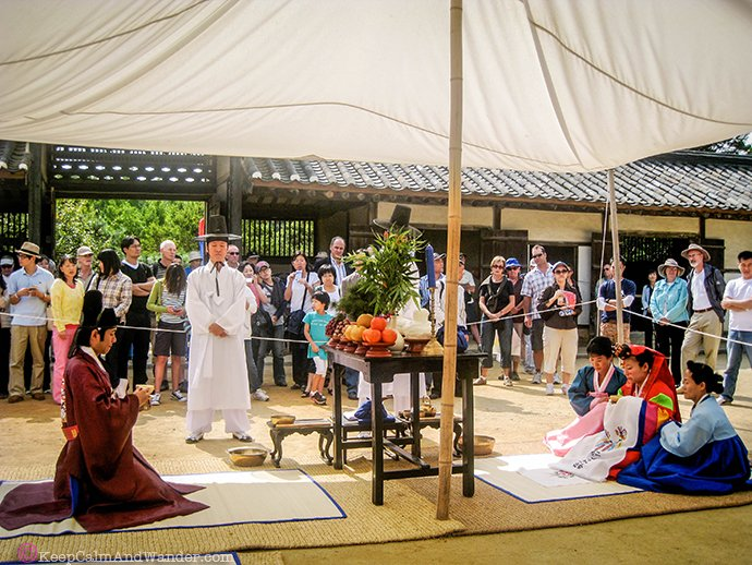 Traditional Korean wedding at Korean Folk Village in Suwon.