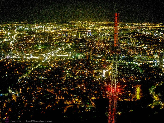 Seoul Tower at night.