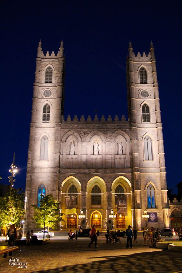 Notre Dame Basilica at Nightime in Montreal.
