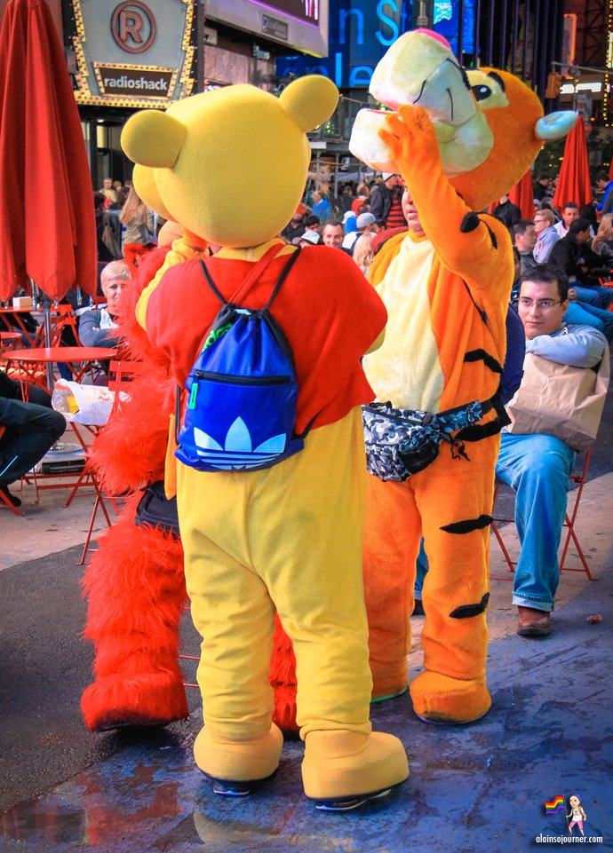 Times Square Buskers Cartoon Characters
