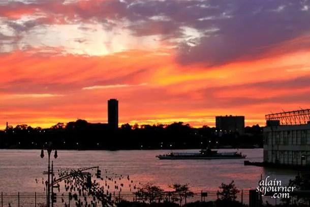 High Line Park Sunset in New York City.