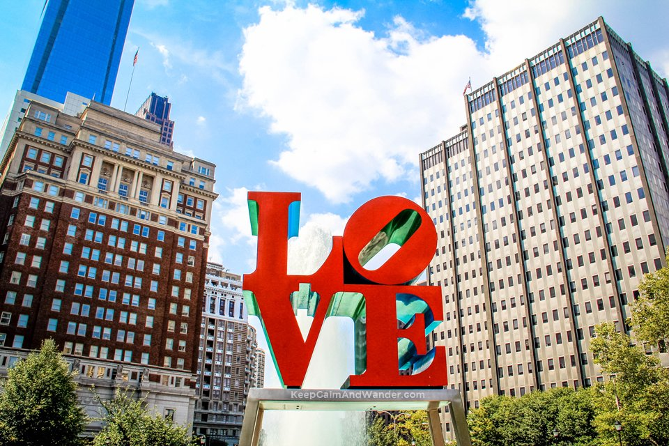 I found love in Philadelphia Love Statue