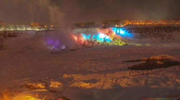 Frozen Niagara Falls Cascade Rainbow at Night.