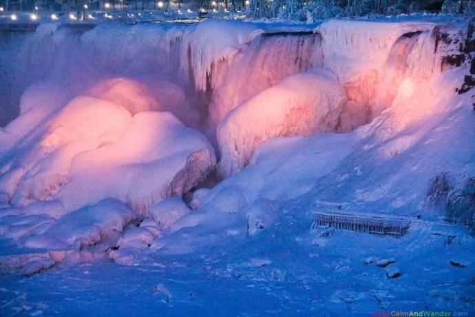 Frozen Niagara Falls Cascade Rainbow at Night