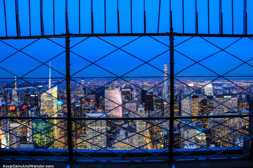 Night View of New York Skyline from the Empire State Building.