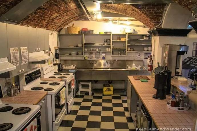 Ottawa Jail Hostel kitchen.