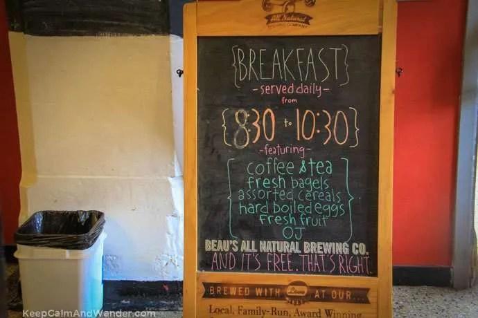 Breakfast menu at the Jail Hostel in Ottawa.