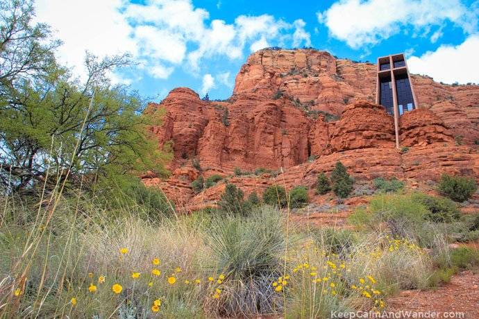 Chapel of the Holy Cross is built between two buttes in Sedona