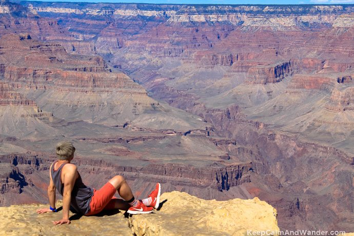 Man looking at Grand Canyon Powell Point.