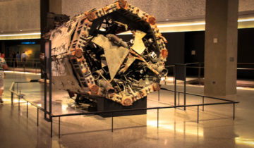 Inside 911 memorial and Museum in New York City.