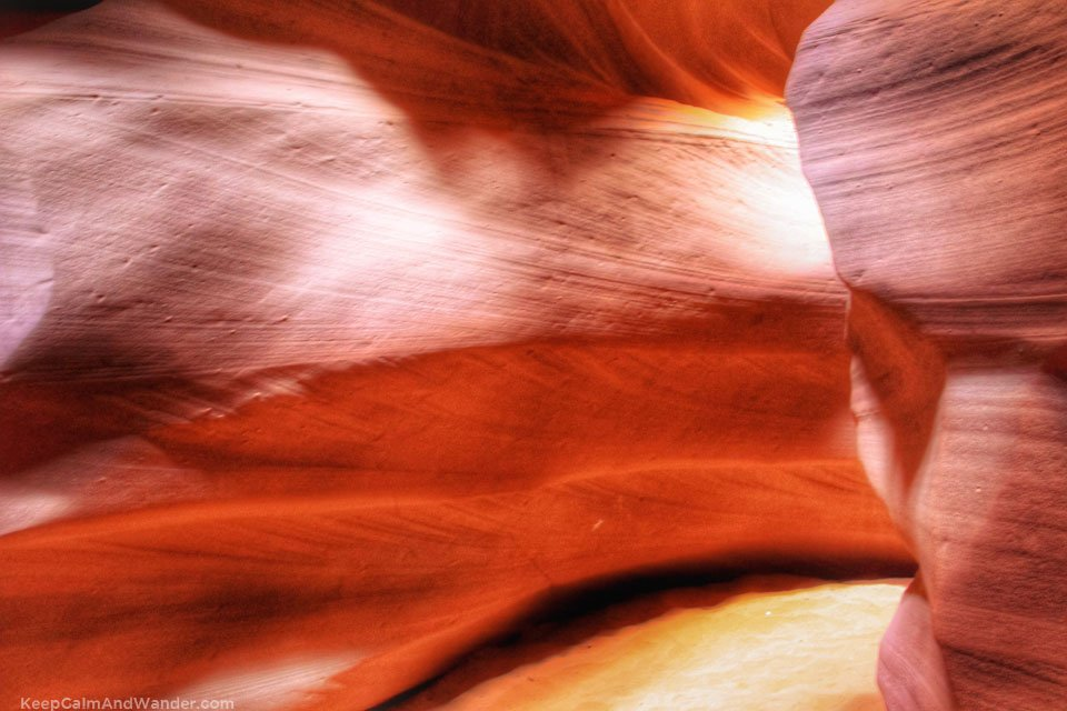 Antelope Canyon in Page, Arizona is a breathtaking attraction hidden in a sandstone slot in a desert.