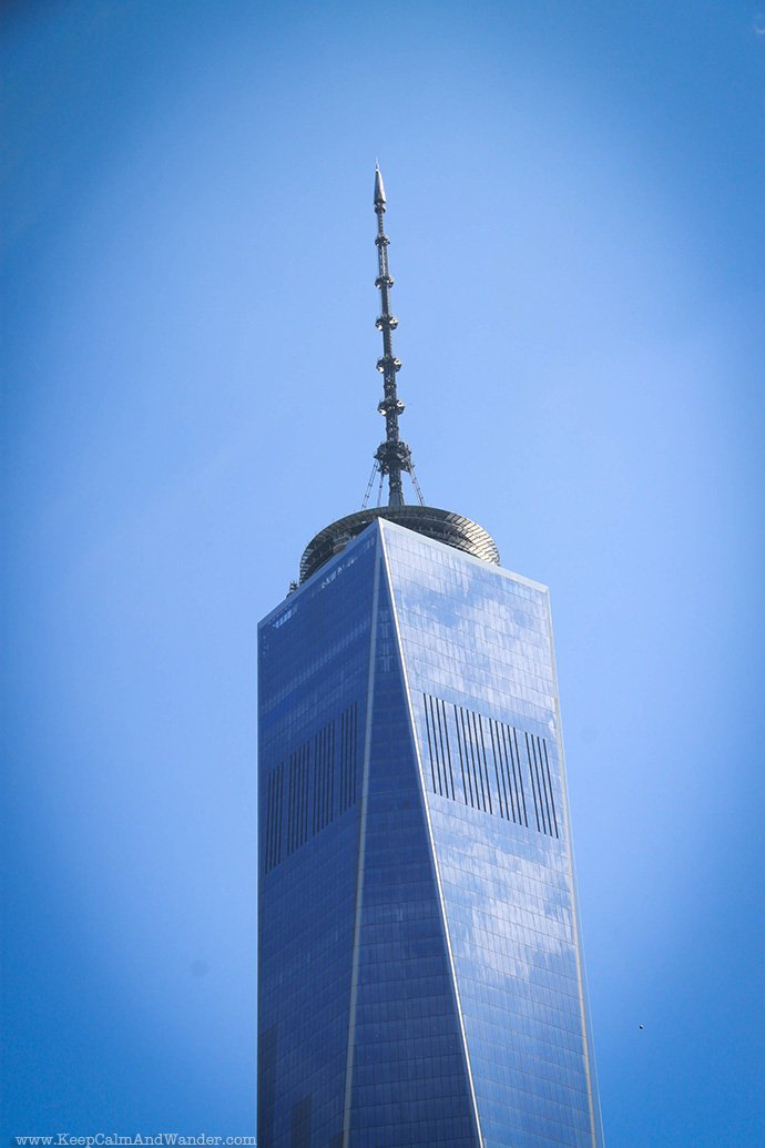 The facade of One World Trade Center in New York City.