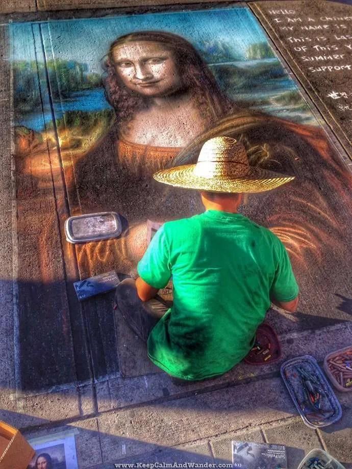 Street Artist Painted Monalisa in Toronto Sidewalk
