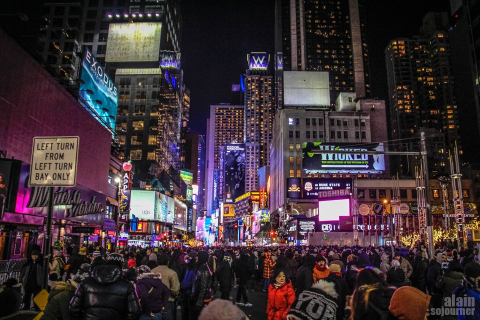 2015 Times Square New Year Countdown in New York / 8th Avenue and 51st Street.