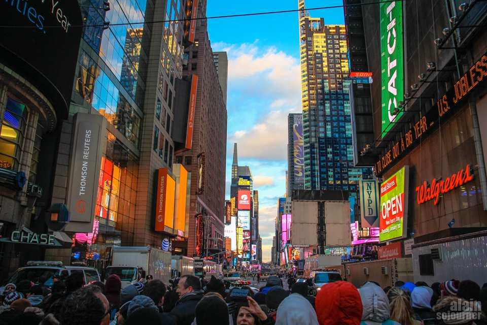 2015 Times Square New Year Countdown in New York / 42nd Avenue, just outside the subway exit, late afternoon.