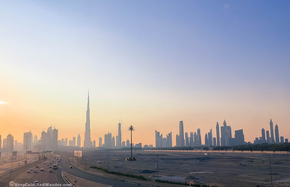 Dubai Sunset with the view of the skyline.