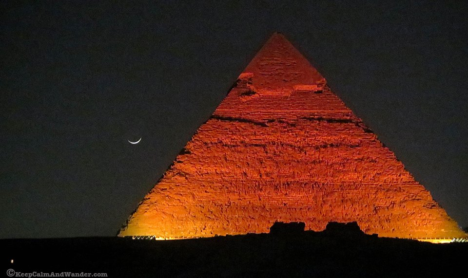 The Night Light and Sound Show at the Pyramids is Spectacular.