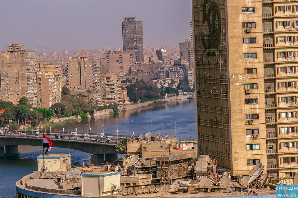 View of Cairo Skyline from Hilton Ramesis Hotel.