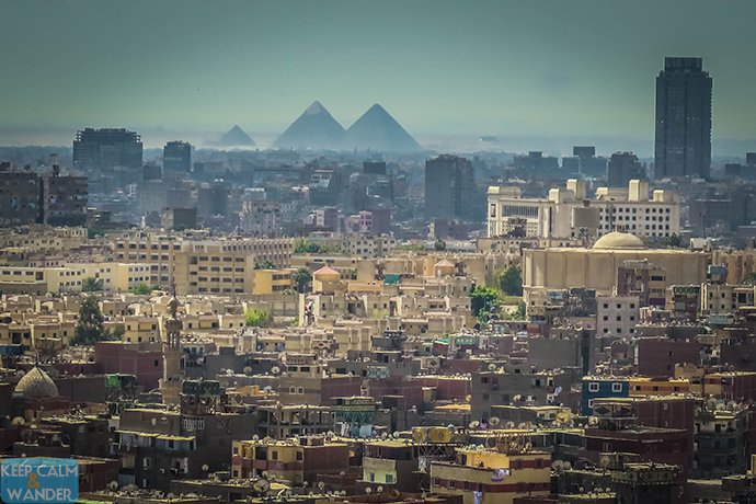 View of the Pyramids from The Citadel in Cairo.