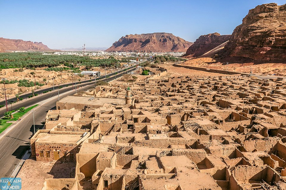 Panoramic view of the old and new Al Ula from the Ancient Tower.