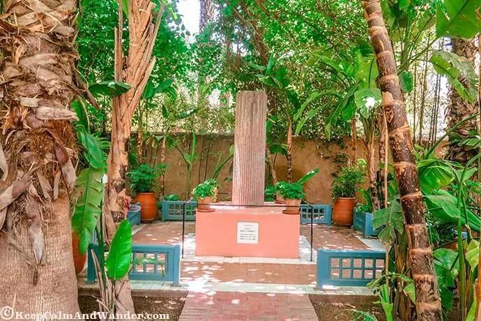 The memorial of Yves St Laurent inside Jardin Majorelle in Marrakech, Morocco