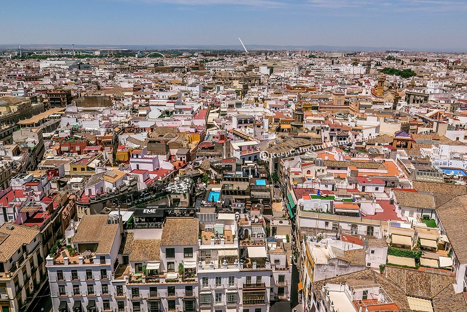 The City of Sevilla - View from La Giralda (Spain).