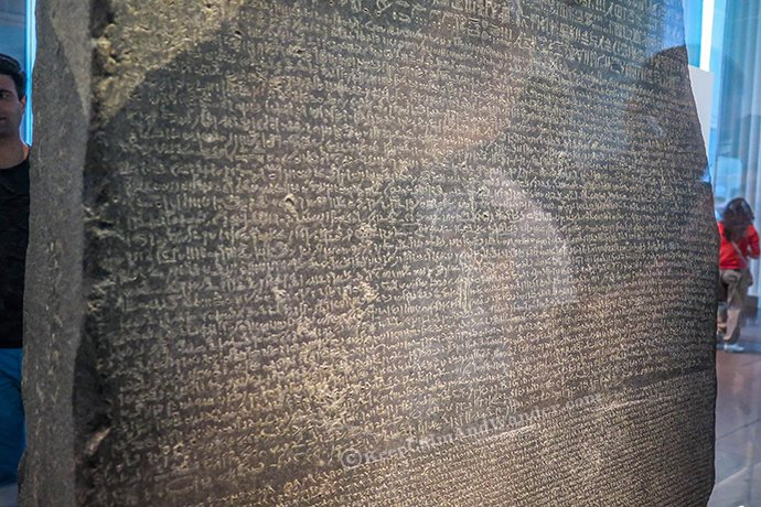 The Rosetta Stone at British Museum in London.