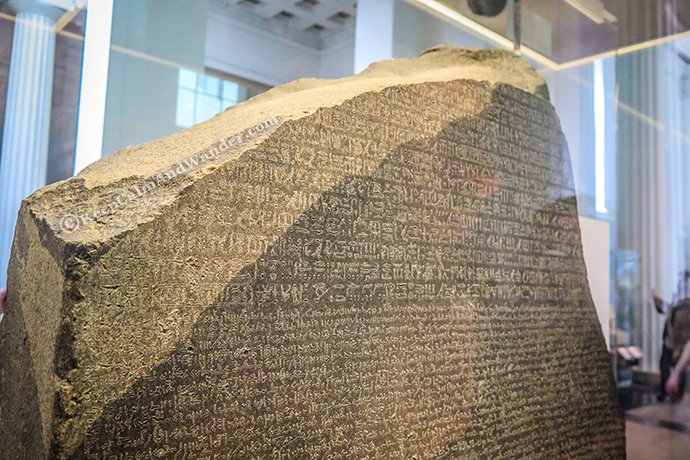 The Rosetta Stone at the British Museum in London.