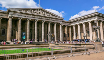 The facade of the British Museum in London.
