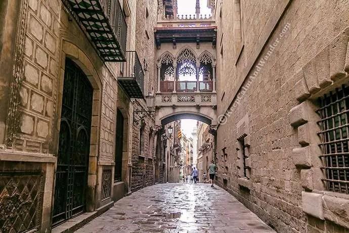 Calle Bisbe Step back in Time at Barri Gotic (Barcelona, Spain)