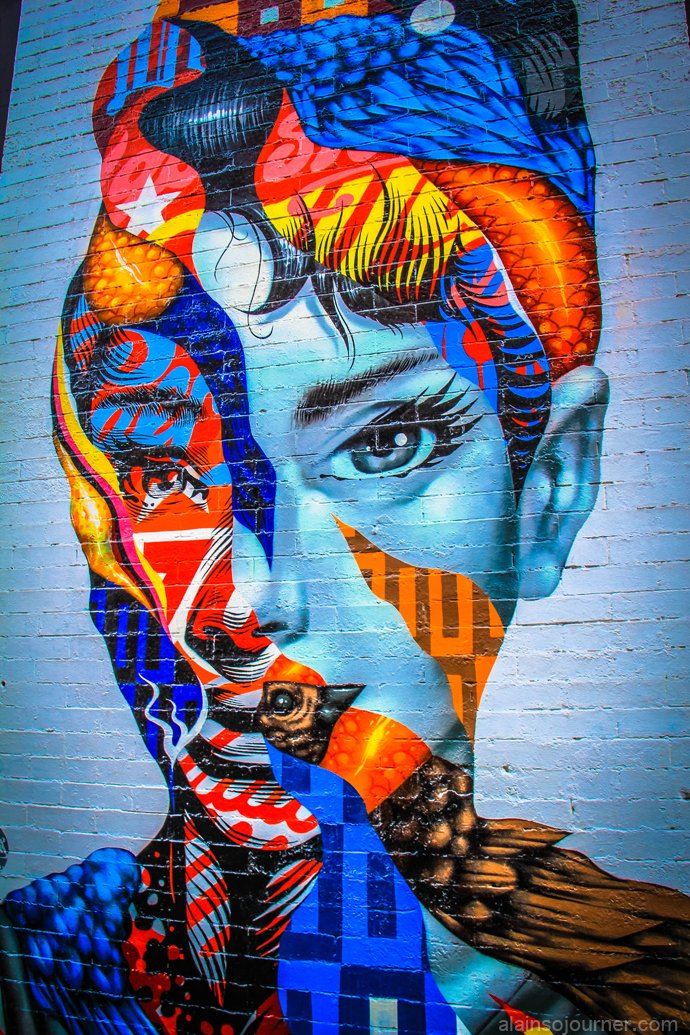 The Audrey Hepburn Mural in Little Italy, New York