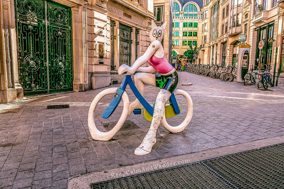 """Statue La Chatte a Bicyclette"" (Cat on a Bike Statue, Brussels, Belgium)."