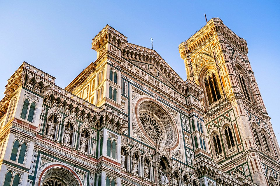 The Stunning Exterior of Florence Duomo (Catedral de Santa Maria del Fiore, Firenze, Italy).
