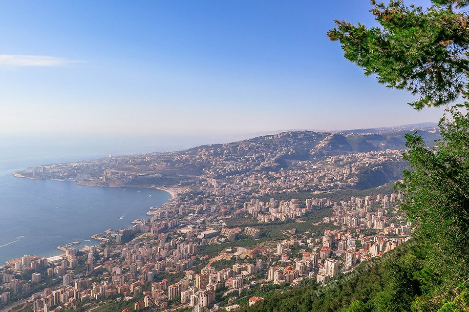The Bay of Jounieh from Harissa on Mt. Lebanon.