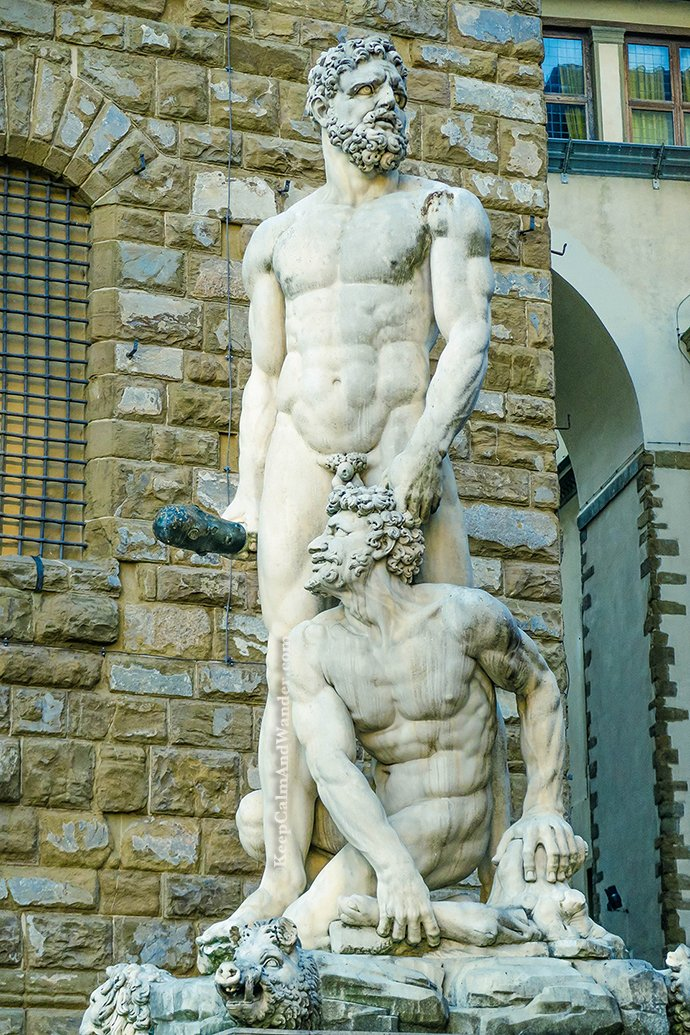 The Amazing Statues Outside Palazzo Vecchio in Florence (Hercules and Cacus). Italy