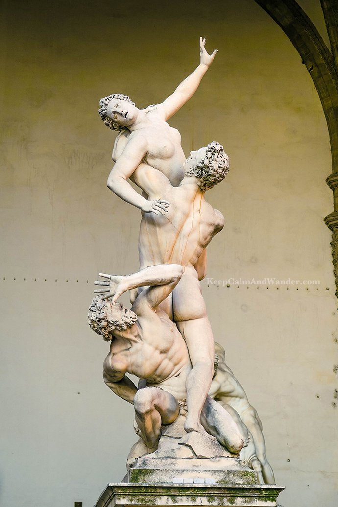 Italy The Amazing Statues Outside Palazzo Vecchio in Florence (Rape of the Sabine Women).